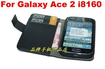 New Wallet Credit Card Case Mobile Phone Leather Case For Samsung Galaxy ACE 2 i8160