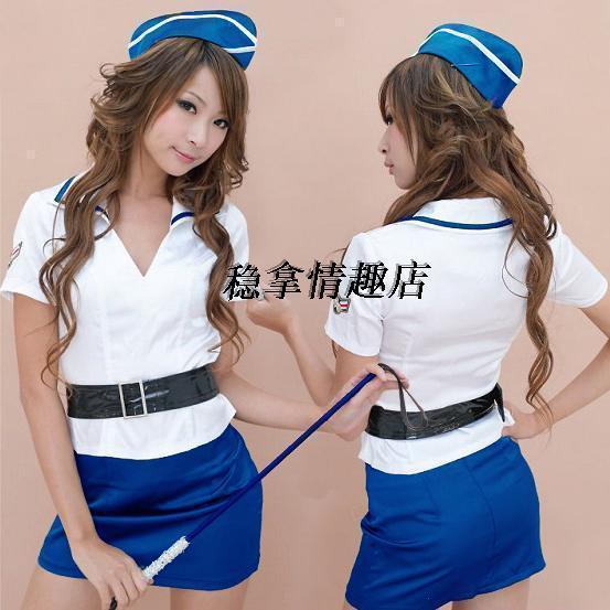 Vibrator sex toys| 1106 sexy stewardess service game uniforms blue |Free Shipping(China (Mainland))