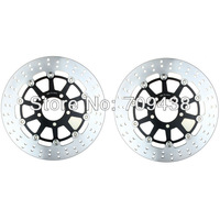 2 X Front Round Brake Disc Rotor For KAWASAKI KLV1000 KLV 1000CC 04 05 06 07 2004 2005 2006 2007 BLACK