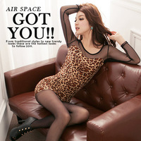 Leopard Print Long Sleeves Lace Patchwork Designer Sheath Sexy Club Women Mini Evening Dress