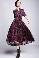D127-1  2012 new high quality women's new Long sleeve mandarin collar linen  dress