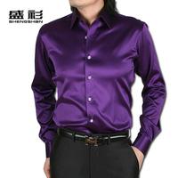Free Shipping Men's High-grade Purple Shiny Silk Satin Long-sleeved Shirt 14 Colors /S-XXXL