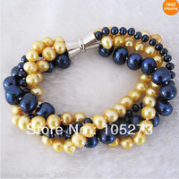 Lovely Pearl Jewelry 8inch AA 4-10MM Golden Navy Multi Color 4Row Natural Freshwater Pearl Bracelet Magnet Clasp Free Shipping