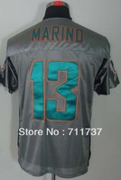 Free Shipping #13 Dan Marino Men's Grey Shadow Elite Football Jersey,Embroidery and Sewing logos,Size M--3XL