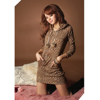 2013 Fashion Women's Sexy Leopard Mini Dress Sweatshirts Hoodie double breasted Pullover Tops for Women Plus size ,Free Shipping