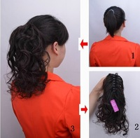 Free shipping-New fashion Girl's wavy hair Ponytail Wig / Hairpieces,100% real human hair extensions,30cm,Thicken claw ponytail