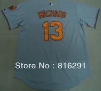 New arrived player  Baseball Jersey   #13 Manny Machado 13 grey gray  color home jerseys size: M-XXXL