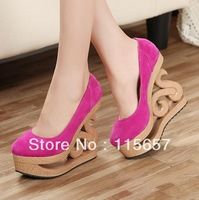 New arrived 2013 sexy velvet wedges cutout carved clogs platform allotypy with high-heeled shoes women pumps