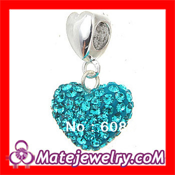 5 pcs/lot European Fashion Green Crystal Adornments Heart Charm Pendant Rhinestone Fit On Big Hole Jeweleries SS2405-2(China (Mainland))