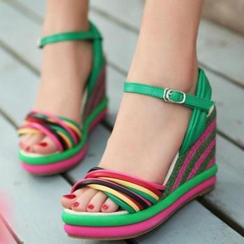 Free shipping, New arrivel,Summer linen wedges sandals, Multicolour platform female sandals, Bohemia platform