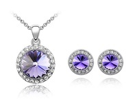 Free Shipping Made With Swarovski Element Purple Crystal Earrings & Necklace Set Engagement Wedding Bride Jewelry Gift T000036