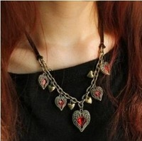 Vintage Charms Angel Wing Red Heart Pendant Chunky Leather Rope Necklace Z-C3010 Free Shipping
