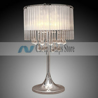 Tiffany Glass Table Lights with 2 Lights-Electroplate Finishfor Living Room, Bedroom in Crystal, Modern/Comtemporary style