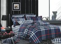hot sale cotton blue checker lattaice mordern pattern bedlinen 4pcs queen/full bedding sets comforter/quilt/duvet covers