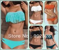 Top 2013 Sexy Bikini Set Bra + Panties Tassels Bikini Swimsuit Beach Bikini Sexy Split Beachwear Black Blue Orange Yellow VS-B3