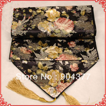 1pcs Free shipping Good quality Chinese 100% Silk  Damask Black  Table Runners For Wedding Recetion