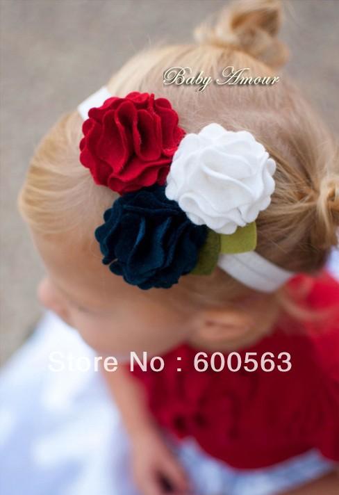 "4.5"" Baby flower felt hairband Girls' Hair Accessories Baby felt headband hair bands hair bows B009(China (Mainland))"