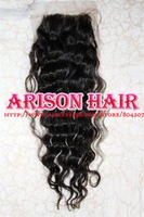 Free shipping High Quality 1B 100% Peruvian Virgin Lace Closure Bleached Knots Water Wave(4*4)