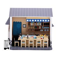 3D paper model - cute Japanese chalet - a full set of 20 models - sushi restaurant