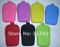 Free Shipping  Silicone Pouch Wallet Purse Cover Card Holder Phone Mobile Key Coin Bag Gift