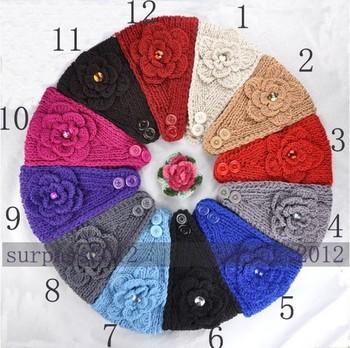 Free Shipping Big Size Flower Crysta Hairband  Women Lady Headband Knit Crochet Headwrap