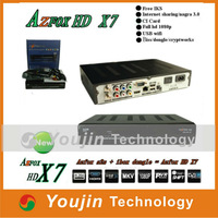 AZFOX HD X7 free iks,Nagra 3,CI card,fulnew HD 1080P,usb wifi and dongle