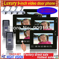 """Free shipping 9"""" color TFT-LCD wired video door phone intercom 2 to 5,support 4CH video in, 1CH video out,rainproof"""
