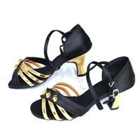 Black 3 buckle soft outsole isointernational Latin dance shoes female Latin dance shoes ballroom dancing shoes dance shoes