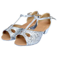 Latin dance shoes female child silver paillette drop soft outsole Latin shoes dance shoes flat heel