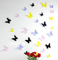 [listed in stock] -3d PVC Decorative butterfly wall stickers quote 4 colors Mix Wall sticker