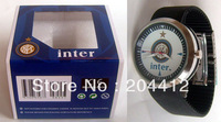 INTER MILAN FC SOCCER FASHION WRIST WATCH black band