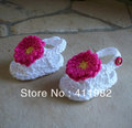 free shipping,MIX Crochet baby flower shoes double sole! kids cute sandals handmade Knitting Booties 0-12M cotton 10pairs/lot(China (Mainland))