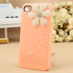 Free shipping mobile phone shell for iphone4/4S influx of small daisies shell rhinestones