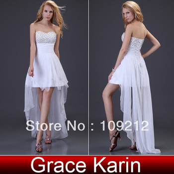 Free Shipping Sexy Strapless Chiffon Beadings High-Low Party Gown Formal Evening Dress CL3827