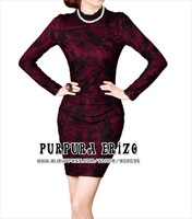 Free Shipping Fashion Elegant Fitted Sheath Purpura Erizo Womens Contracted Vintage Elegant Lace Long Sleeve Rose Fitted Dress