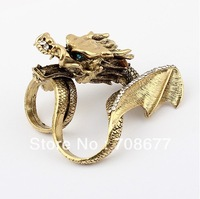 Wholesale High Quality Vintage Style Rhinestone Double Fingers Chinese Dragon Ring