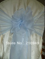 FREE SHIPPING 100 pcs organza fabric chair cover sash for wedding baby blue organza sashes