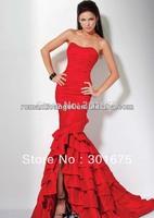 sexy red strapless evening dress