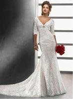 Best selling lace 3 4 sleeve wedding dress