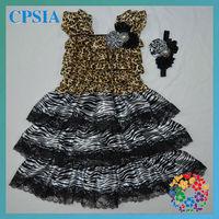 petti leopard top dress set with zebra trim matched headband wholesale satin dress for little girls 24sets/lot DHL free