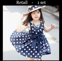 Retail Hot girls dresses summer 1pcs 2color 3~11Age Children clothing
