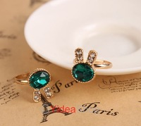 Wholesale - 17pcs Fashion Cluster Cute Lovely Green Crystal Rhinestone Rabbit Shape Adjustable Ring 260886
