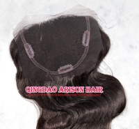 "Free Shipping Virgin 1B# Bodywave Brazilian Virgin remy hair Clip on lace top Closure (4"" x 4\"")with silk around and 3 Clips"