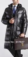 2013 new fashion shiny classic winter long jacket for men