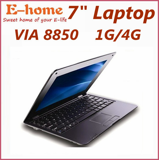 Cheapest price 7 inch Android 4.0 VIA 8850 DDR3 512M 4GB HDD HDMI Camera WIFI RJ45 Netbook Laptop Notebook dropshiping(China (Mainland))