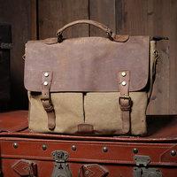 Fashion Vintage handbag canvas + crazy horse leather briefcase one shoulder punk canvas casual bag cowhide cover totes