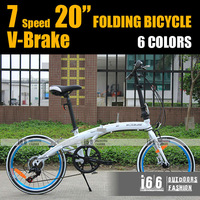 "7 Grades Variable speed 20"" Folding cycling mountain bicycle Back & front V brake folding bike(B-12004) -WHITE with BLUE rim"