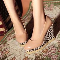 Women's shoes leopard print platform wedges women shoes single shoes female 2012