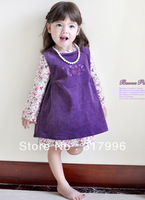 Free shipping girl flower dress + vest dress set,children dresses,kids dresses,4sets/lot wholesale