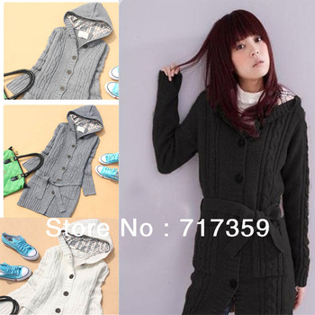 1pc 2013 Long Sleeve Hoodie Cardigans trench Outwear Women's Sweater Coat With Hat Single-Breasted Free Shipping 3color  650728